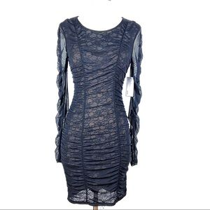 New GUESS Ria Dress XS black bodycon lace ruched
